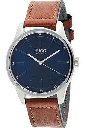 HUGO BOSS Herr analog klassisk kvartsklocka med läderrem 1530029