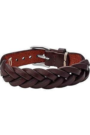 Fossil Leather Essentials mäns brunt armband utan armband, JF03851040