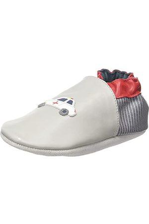 Robeez Unisex Baby Heroes bil spjälsäng sko, - Gris Clair Marine Rouge - 18 EU