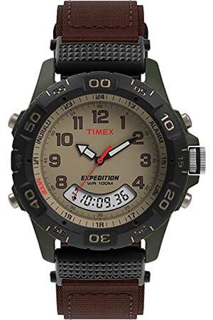 Timex Expedition herr T45181 kvartsklocka med urtavla analog display och brun nylonrem