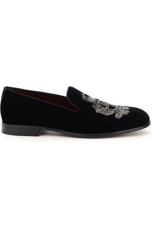 Dolce & Gabbana Man Tofflor - Leonardo velvet slippers dg coat of arms
