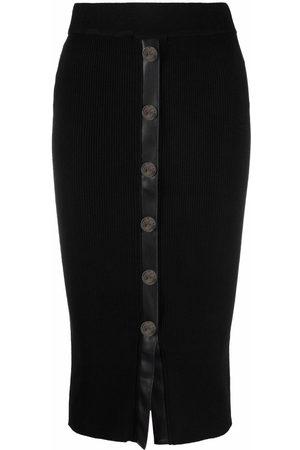 Pinko Ribbstickad kjol med knäppning