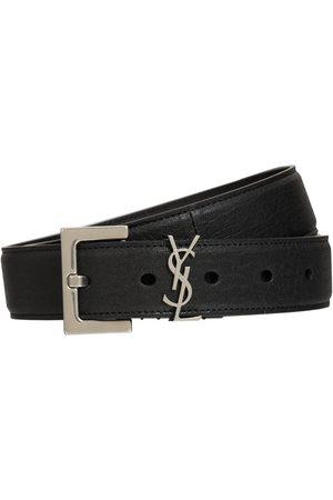 Saint Laurent Man Bälten - 3cm Monogram Smooth Leather Belt