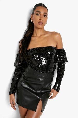 Boohoo Kvinna Shape underkläder - Off Shoulder-Body Med Paljetter, Black