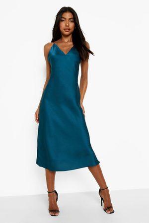 Boohoo Kvinna Midiklänningar - Tall - Slipklänning I Satin, Green