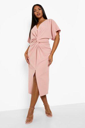 Boohoo Kvinna Midiklänningar - Plus - Midiklänning Med Slits, Pink