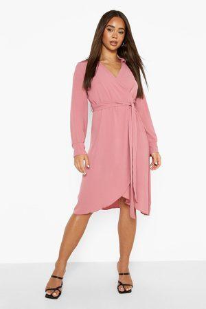Boohoo Kvinna Midiklänningar - Långärmad Midiklänning Med Omlott Och Knytskärp, Pink