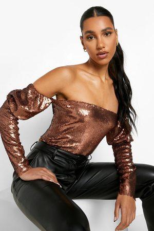 Boohoo Kvinna Shape underkläder - Off Shoulder-Body Med Paljetter, Brown