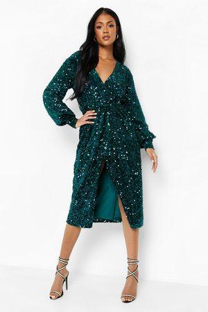 Boohoo Kvinna Midiklänningar - Tall - Midiklänning I Sammet Med Paljetter, Green