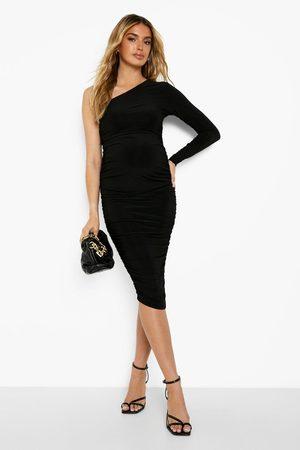 Boohoo Kvinna Midiklänningar - Mammakläder - Rynkad One Shoulder-Klänning, Black
