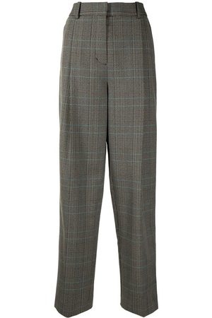 3.1 Phillip Lim CHECK WOOL-BLEND PLEATED TROUSER