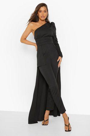 Boohoo Asymetric Drape Detail Puff Sleeve Jumpsuit, Black