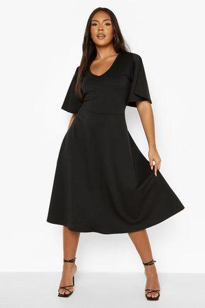 Boohoo Kvinna Casual klänningar - Plus Scuba Midi Skater Dress, Black