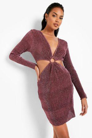 Boohoo Sparkle Cut Out O Ring Mini Dress, Pink