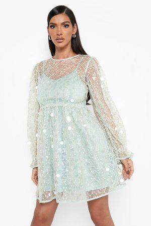 Boohoo Kvinna Casual klänningar - Klänning Med Paljetter Och Blusärm