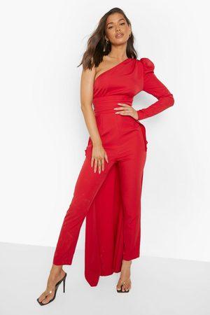 Boohoo Asymetric Drape Detail Puff Sleeve Jumpsuit, Red