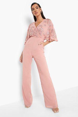 Boohoo Kvinna Jumpsuits - Jumpsuit Med Kimonoärm Och Vida Ben, Pink
