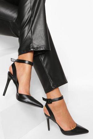 boohoo Kvinna Klackar - Chunky Buckle 2 Part Court Shoe, Black