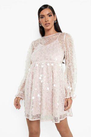 Boohoo Klänning Med Paljetter Och Blusärm, Pink