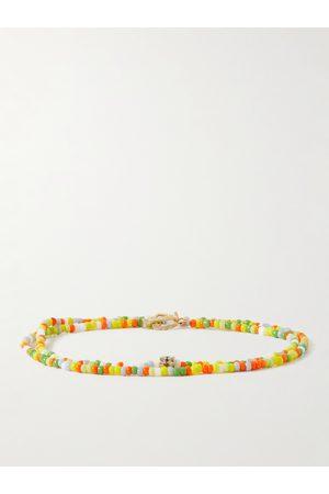 LUIS MORAIS Man Armband - Gold, Diamond and Bead Wrap Bracelet