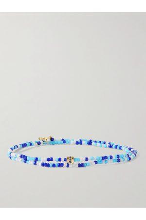 LUIS MORAIS Man Armband - Gold, Sapphire and Bead Wrap Bracelet