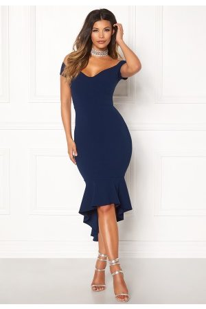 John Zack Off Shoulder High Dress Navy M (UK12)