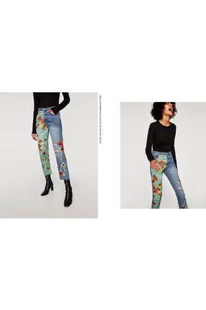 Zara JEANS THE HIGH RISE EMBROIDERY SATIN