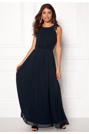 Ax Paris Kvinna Maxiklänningar - Lace Trim Chiffon Maxi Dress Navy S (UK10)