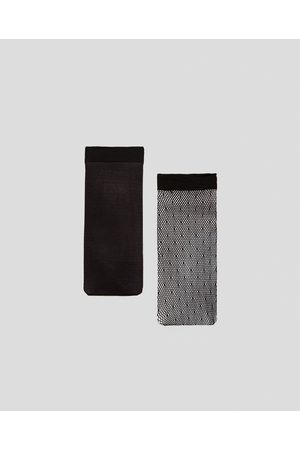 Zara PACK OF BASIC AND DOTTED MESH SOCKS